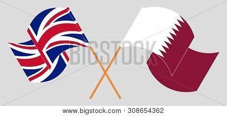 Crossed and waving flags of the UK and Qatar. Vector illustration poster