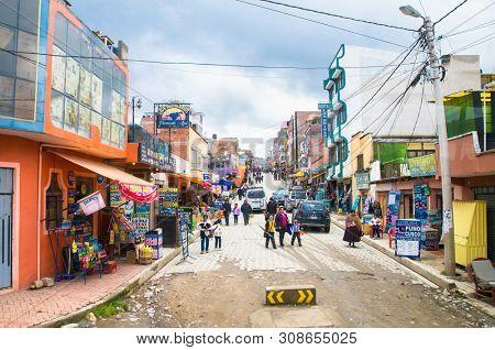 Copacabana, Bolivia-Jan 4, 2019: Main street of the small tourist town Copacabana at  Lake Titicaca, Copacabana,  Bolivia.