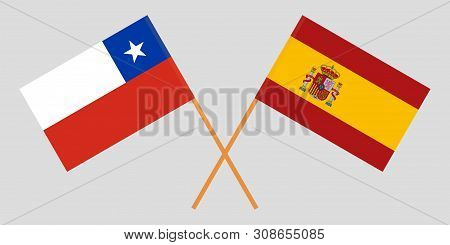 Chile And Spain. Chilean And Spanish Flags. Official Colors. Correct Proportion. Vector Illustration