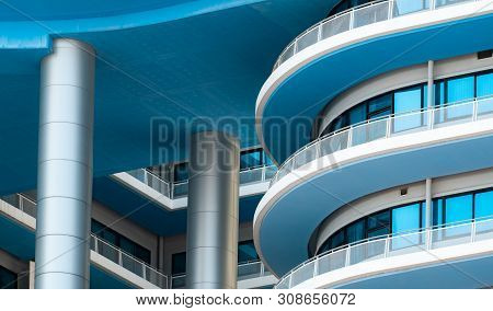 Bangkok, Thailand-november 23, 2018 : Closeup White And Blue Building With Glass Window. Facade Of H