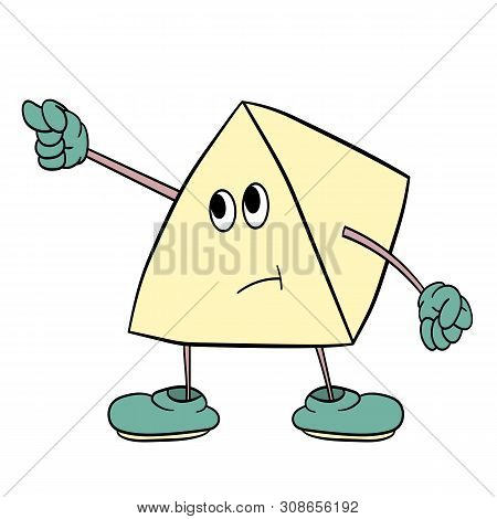 Funny Triangle Smiley With Legs And Eyes Shows An Indecent Gesture. Caricature Color Sketch.