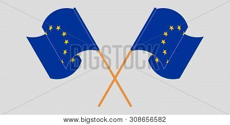 Crossed And Fluttering Flags Of Eu. Vector Illustration