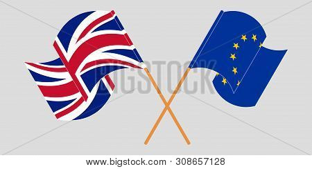 Crossed And Waving Flags Of The Uk And The Eu. Vector Illustration