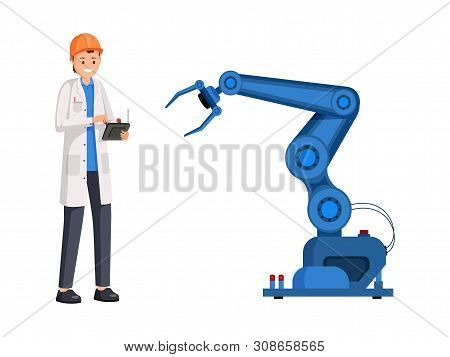 Engineer Operate Robotic Arm Flat Illustration. Smart Industry, Automatic Manufacturing, Industrial