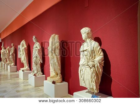 Antalya, Turkey - May 20, 2019: Marble Statues Of Gods And Emperors Of Antiquity In The Museum Of An