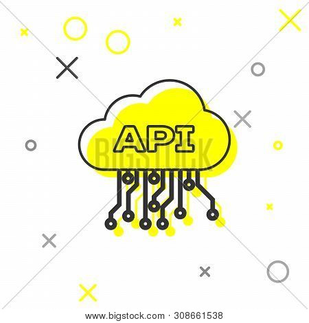 Grey Cloud Api Interface Line Icon Isolated On White Background. Application Programming Interface A