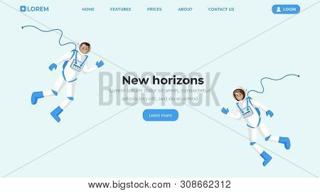 Space Travel Flat Landing Page Template. Cosmonauts In Spacesuits Floating In Zero Gravity And Wavin