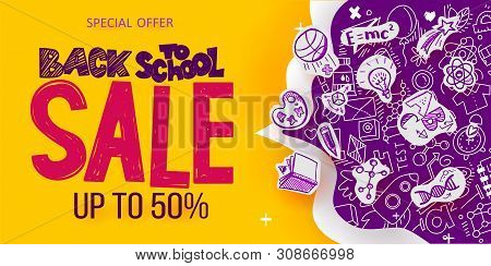Back To School Sale Banner With Line Art Symbols Of Education, Science Objects On Paper Art Cut Out