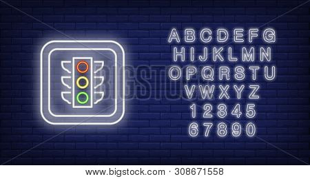 Traffic Light In Square Neon Sign. Roadsign On Brick Background. Night Bright Advertisement. Vector