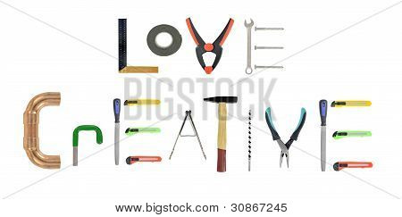 Assorted hand-tools on white