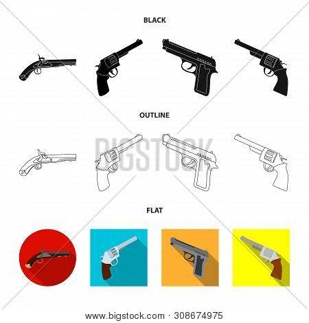 Vector illustration of revolver and pistol symbol. Collection of revolver and trigger stock vector illustration. poster