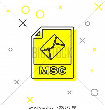 Grey Msg File Document Icon. Download Msg Button Line Icon Isolated On White Background. Msg File Sy