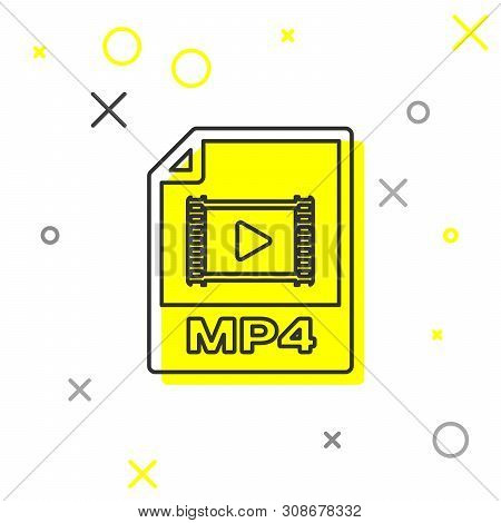 Grey Mp4 File Document Icon. Download Mp4 Button Line Icon Isolated On White Background. Mp4 File Sy