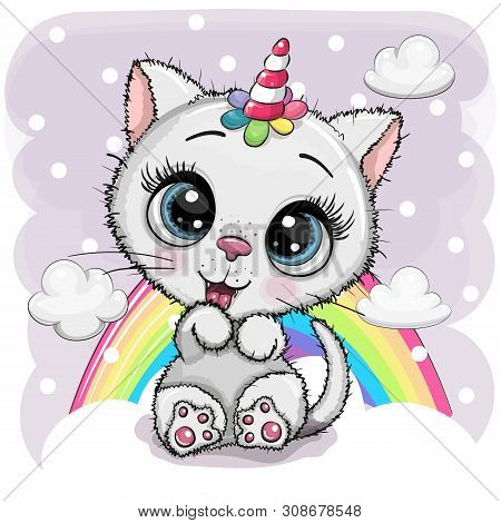 Cute Cartoon White Kitten With The Horn Of A Unicorn On Clouds
