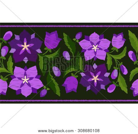 Stylized Embroidery A Border Pattern Of Bluebells Vector