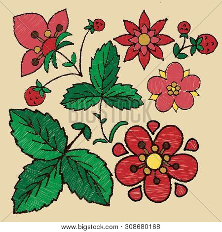 Stylized Embroidery On The Stitch Of Flowers, Berries And Strawberry Leaves