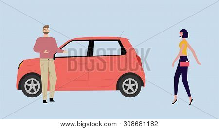 The Man Suggests To Get Into The Car By The Passing Woman.