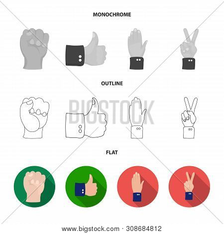 Vector Design Of Animated And Thumb Icon. Collection Of Animated And Gesture Stock Vector Illustrati