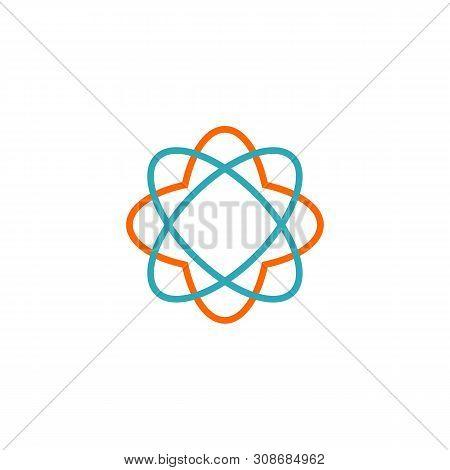 Neutron Flower Icon Vector Logo Template Illustration Design. Vector Eps 10.