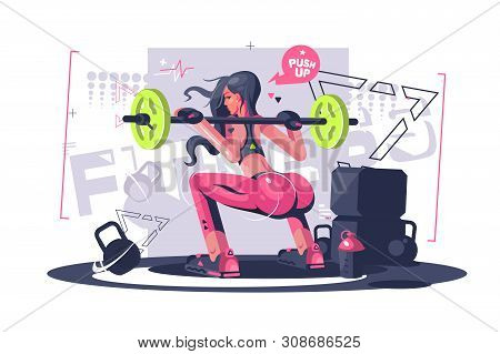 Cute Fitness Girl Vector Illustration. Pretty Young