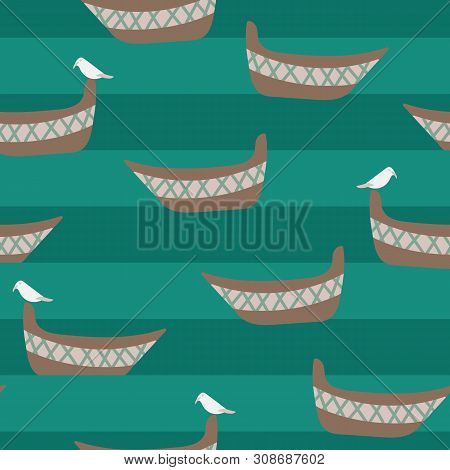 A Seamless Vector Pattern With Boats, Seagulls And Teal Stripes Of Water. Surface Print Design