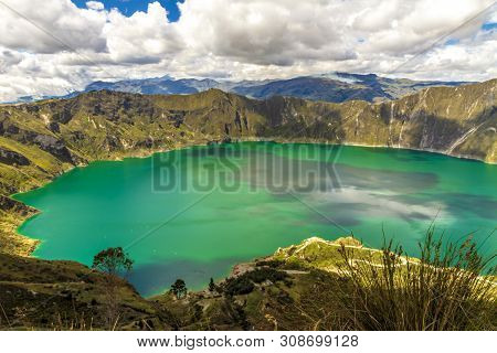 Quilotoa Lagoon Panorama View In A Sunny Day Near Quito, Ecuador, South America