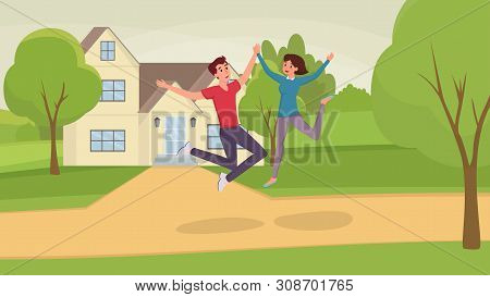 Jumping People Flat Vector Illustration. Excited Husband And Wife, Man And Woman, Friends Cartoon Ch