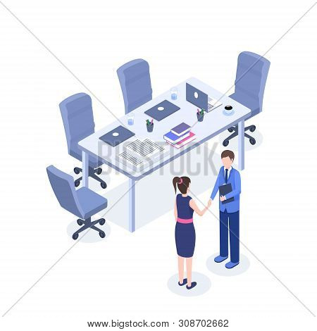 Successful Business Negotiations Vector Isometric Illustration. Hr Agent, Employer And Employee In M