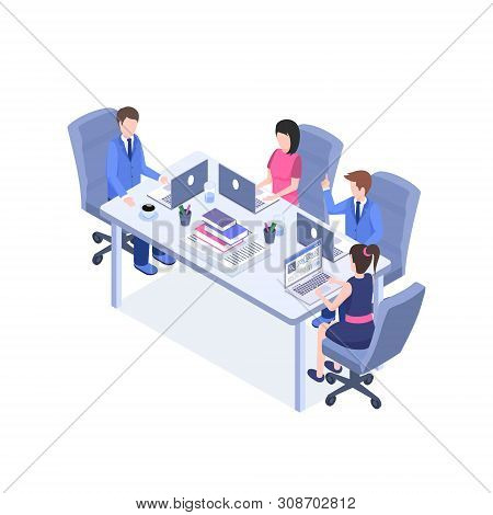 Business Meeting Vector Isometric Illustration. Office Staff, Managers, Employee 3d Cartoon Characte