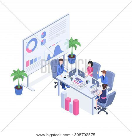 Business Analytics Training Vector Isometric Illustration. Managers And Supervisors, Office Staff In