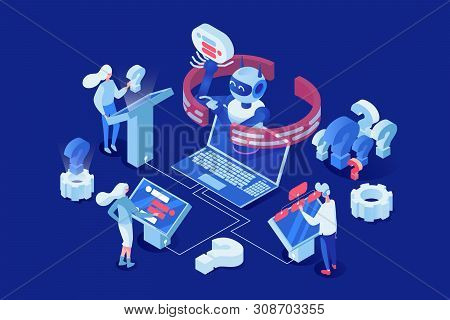 Artificial Intelligence Vector Isometric Illustration. People, Clients Chatting With Chatbot 3d Cart