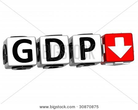 3D Gdp button block cube text over white background poster