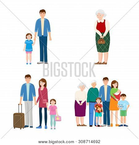 Vector Illustration Of Family And People Icon. Collection Of Family And Avatar Vector Icon For Stock