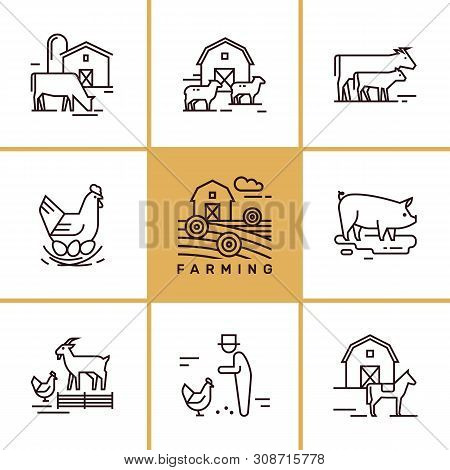 Vector Set Of Farming And Farm Animals That Are Great For Illustrations, Infographics And Logos Of S