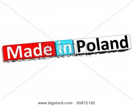 3D Made In Poland Over White Background