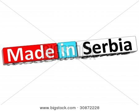 3D Made In Serbia Over White Background
