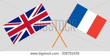 The Uk And France. British And  French Flags. Official Colors. Correct Proportion. Vector Illustrati