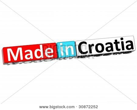 3D Made In Croatia Over White Background