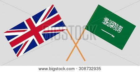 The UK and the Kingdom of Saudi Arabia. British and the KSA flags. Official colors. Correct proportion. Vector illustration poster