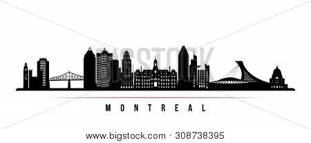 Montreal City Skyline Horizontal Banner. Black And White Silhouette Of Montreal City, Canada. Vector
