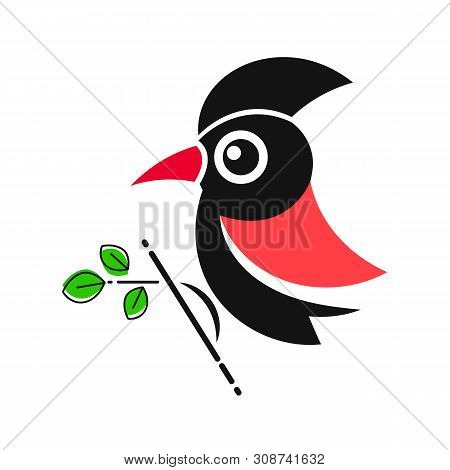 Woodpecker. Bird Animal Abstract Vector Template Zoo Wildlife Business Icon Nature Company