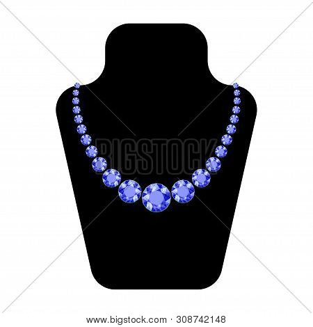 Beautiful Necklace. Necklace For Decoration Design. Vintage Jewelry Background. Crystal Vector. Jewe