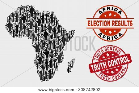 Ballot Africa Map And Seal Stamps. Red Round Truth Control Grunge Stamp. Black Africa Map Mosaic Of