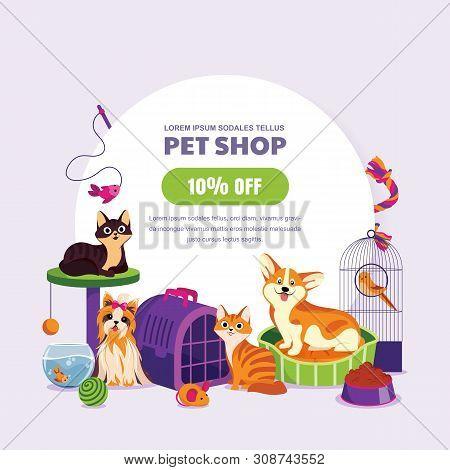 Pet Shop Poster Or Banner Design Template. Vector Cartoon Illustration Of Cats, Dogs, Aquarium Fish