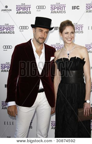 SANTA MONICA, CA - FEB 25: Fiona Hefti; Carlos Leal at the 2012 Film Independent Spirit Awards on February 25, 2012 in Santa Monica, California