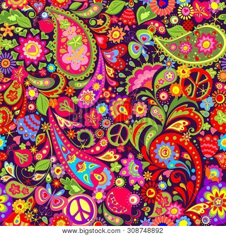 Hippie vivid colorful wallpaper with abstract flowers, hippie peace symbol, butterfly, ladybird, pomegranate and paisley