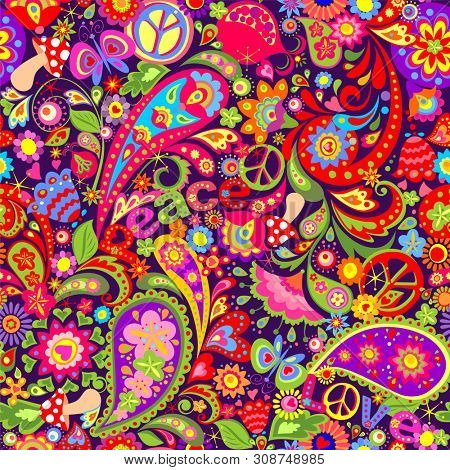 Hippie vivid colorful wallpaper with abstract flowers, hippie peace symbol, peace and love words, mushrooms, pomegranate and paisley