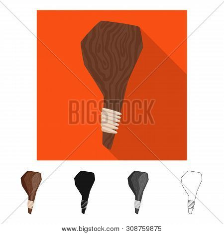 Vector Illustration Of Cudgel And Weapon Sign. Set Of Cudgel And Tools Stock Vector Illustration.