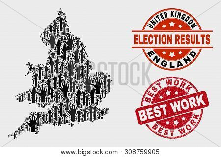 Electoral England Map And Seal Stamps. Red Rounded Best Work Grunge Seal Stamp. Black England Map Mo