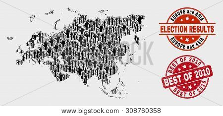 Electoral Europe And Asia Map And Seals. Red Round Best Of 2010 Textured Stamp. Black Europe And Asi